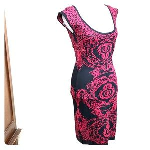Sparkle pink knit black bodycon cocktail dress M